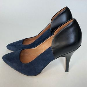 Madewell leather and suede pointy toe pumps